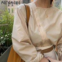Matakawa Bevelled Blusso singolo Blusas Mujer de Moda Casual Donne a maniche lunghe Camicette Abbigliamento moda coreano Abbigliamento Shirt allentati 210315
