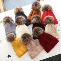 Autumn Winter Baby Kids Hat Wool Pompom Ball Knitted Skull Cap Boys Girls Warm Children Hats 9 colors Z4417