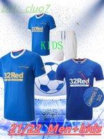 Rangers 150th Anniversary Soccer Jerseys Glasgow 2022 التدريب قمزة سترة الأبطال 55 Defoe Hagi Barker Morelos Special 2021 قمصان كرة القدم الرجال + Kids Kit