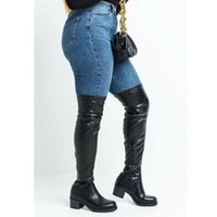 Boots DORATASIA Big Size 43 Female Zipper Round Toe Med Heel Platform Women's Over The Knee High Sexy Trendy Fashion Shoes