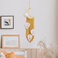 2 PCS 노란 Boho 수제 Macrame 벽 교수형 달 드림 포수 짠 잎 태피스 트리 장식 홈 장식 공예 선물