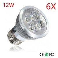 전구 6pcs 고품질 E27 12W AC85-265V AC110V / 220V LED 스포트 라이트 램프 가벼운 자리 천장