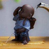 الإبداعية الشاي الحيوانات زخرفة الصينية الفن الشعبي الأرجواني الطين الديكور المنزل التماثيل ليتل الراهب ييشينغ طفل رضيع رذاذ بول