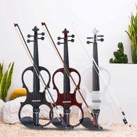 4/4電気バイオリンフィドル弦楽器のバスウッドが付いている継手ケーブルのヘッドホンケース音楽愛好家初心者アンティーク