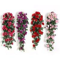 Fiore artificiale Rattan Flower Flower Flower Decoration Decorazione Parete appeso Rose Decor Decor Accessori Decorativi di nozze Fiori decorativi Corona DHE5046