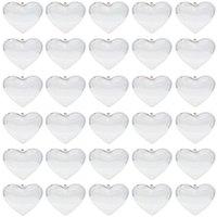 Temizle Plastik Süsler Topları Kalp Şeklinde Noel Ağacı Topu Doldurulabilir Baubles Yılbaşı Düğün Süslemeleri Için Açılabilir Şeffaf Top