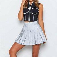 Skirts Women Mini Pleated School Tennis High Waist Skater Skirt Casual Short Reflective Night Club Party