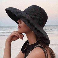 summer lady pleated straw Women casual large brim floppy sun hat cap Holiday beach casquette gorros