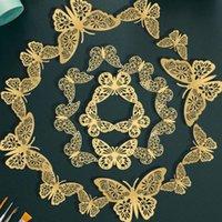 Wall Stickers 36pcs 3D Butterfly Hollow Butterflies Decals DIY Art Home Decor Rose Gold Golden Silver