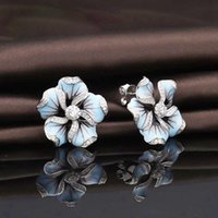 Stud Bohemian Crystal Inlaid Earrings For Women Fashion Personality Blue Flower Rhinestone Accessories Party Jewelry