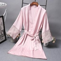 Women's Sleepwear Bridesmaid Robes Satin Robe Bride Elegant Sexy Lace Women Dressing Gown Bathrobe Kimono Silk Bath Sleep Lounge