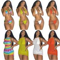 piece swimsuit S-XXL Sexy sleeveless vest Skirt suit 3 pcs set ssexy bikini solid mesh Mini tight strap three Summer Womens Swimwear