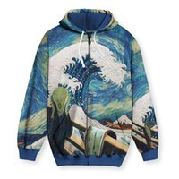 Wave pattern men s Zip-up Hoodie visual impact party top punk goth round neck high quality American sweater hoodie