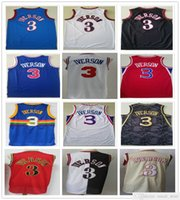 스티치 메쉬 빈티지 패션 남자 Allen 3 Iverson Jerseys 블루 화이트 레드 블랙 농구 대학 셔츠 빠른 배송