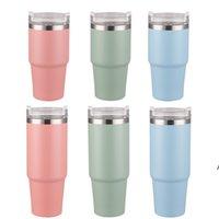 20 oz Tasses coniques colorées en acier inoxydable insulted eau tasse de tasse en plastique paille et couvercle à la mode café Thé-Tea Thé-Thées maritimes ZZB8927