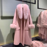 Women's Jackets CX-G-T-29A Real Fur Shawl Collar And Cuffs Cashmere Wool Long Women Coat Overcoat With Belt
