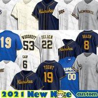 22 Christian Yelich Milwaukee Jersey Robin Yount Ryan Braun Brandon Woodruff Omar Narvaez Kolten Wong Lorenzo Cain Custom Wong
