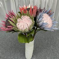 Decorative Flowers & Wreaths Artificial King Protea Single Branch Flower Wedding Accessories Bouquet