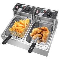 5000W 12.7QT Cucina Friggitrice elettrica Friggitrice a doppio serbatoio Frying Machines Commerciale con scarico da cesto 2L