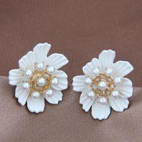 2021 Trendy Zarif Simüle İnci Saplama Küpe Kadınlar için Tatlı Çiçek Bırak Takı Kore Beyaz Daisy Küpe Aksesuarları Hediye