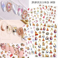 Pegatinas de uñas japonesas Virgin María de Jesús Manicura 3d decoración decoración fototerapia flor