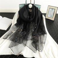 Scarves Embroidery Elegant Silk Wool Scarf Hijab For Women Floral Female Foulard Bufanda Head Shawls Wraps Pashmina Beach Stoles 2021