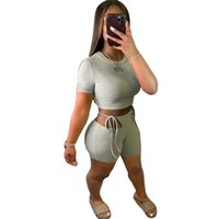 Womens Tracksuits Sexy Women 2PCS Set Short Sleeve Top Fitness Shorts Run Gym Sports Clothes Suit Sweatsuit Summer Pullover outfit