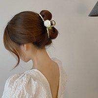 절묘한 여성 우아한 장미 꽃 머리 발톱 패브릭 헤어 클립 금속 머리띠 머리핀 패션 레트로 헤어 액세서리 oranment 1676 B3