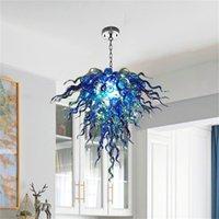 Estilo arte estilo coral forma azul candelabros cadena colgante luminoso salón h otel soplado mano lámpara lámpara de lámpara acepta personalización