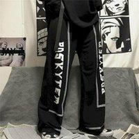 Женские брюки CAPRIS PLUS Размер Черные Женщины Одежда Темный Гот Японская текстовая печать Yamamoto Свободные прямые вскользь прилив дикие брюки