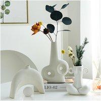 Vases Abstract Ceramic Vase Desktop Art Hydroponic Living Room Floral Arrangement Dried Flowers Simple Home Decoration Ornaments