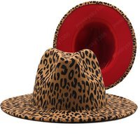 Wide Brim Leopard Bottom Bottom Fedora Signore Lana Feltro Cappello da donna Donne Party Trilby Jazz Church Cappelli Patchwork Panama Cap Panama