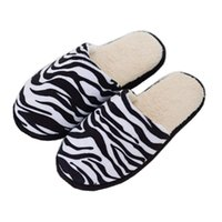 Hausschuhe Damen Winter einfache Mode Zebra Gestreifte dicke Bodenliebhaber Home rutschfeste warm warm bequeme Innenwatte innen