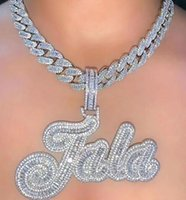Custom Name Necklace Brush Script Initial Letter Iced Out White Pink CZ Diamonds Plate Pendant Tennis Chain Hiphop Jewelry