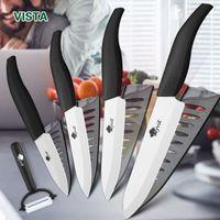 Seramik Bıçaklar Mutfak Bıçakları 3 4 5 6 Inç Şef Bıçak Cook Seti + Soyucu Beyaz Zirkonya Blade Çok renkli Kolu Yüksek Kalite Ücretsiz DHL Nakliye