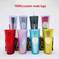 24oz personalizado starbucks canecas iridescent bling arco-íris unicórnio cravejado copo frio copo caneca de café com palha fy4488cj18