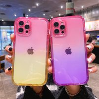 Transparent Gradient Color 2 in 1 Mobile Phone Cases For iPhone 13 12 11 Pro Max Mini XS XR X 8 7 Plus Clear Shockproof Bumper Water Resistant Dirt-resistant Back Cover