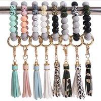 Party Favor Silicone Bracelet Keychains Tassel Bead Bangle Keyring Leopard Women Sports Bracelets Fashion Jewelry 8 Designs Optional Wholesale BT6597