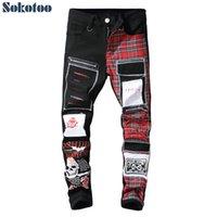 008 erkek kafatası baskılı İskoç ekose patchwork jeans trendy yamalar tasarım siyah yırtık sıkıntılı denim uzun pantolon