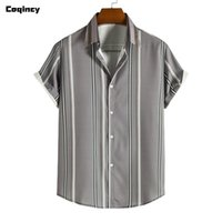 Men's Casual Shirts Stripe Summer Plus Size Short Sleeved Lapel Shirt Top Blouse Men Clothing Camisas De Hombre Hawaiian