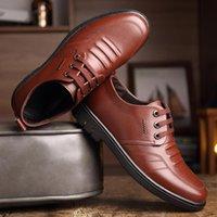 Business Men's Shoe Black Brown Color Round Head Soft Soles Casual Work Shoes