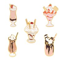 Summer Ice Cream Modeling Brooches Cartoon Alloy Glass Drinks Lapel Pins For Women Bags Cowboy Clothes Badge Brooch Jewelry Accessories Wholesale