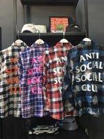Camicia da uomo in cotone sciolto Europeo e American Plaid Brand Brand Coreano Cappotto a maniche lunghe Casual coppia coreana