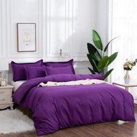 Bedding Sets 2 3Pcs Set Purple Duvet Cover Pillowcase Stripe Geometric Black Red Gray Simple US EU Sizes NO BED SHEET