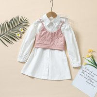 Clothing Sets Bbay Girls Casual Two-piece Clothes Set, White Solid Color Dress And Pink Camisole With Decorative Pearl