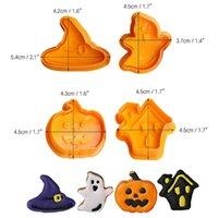 4pcs / 세트 DIY 3D 만화 비스킷 몰드 2021 할로윈 어린이 호박 마녀 실리콘 미니 사탕 쿠키 금형 홈 주방 용품 G89XO8T