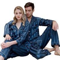 Mens Womens New Arrival Sleepwears Thin Close-fitting Stain Silk Pyjamas Set Home Cardigan Striped Long Sleeve Pijama Suits