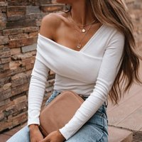 Women's Tanks & Camis Blouse Women V Neck Shrot Sleeve Shirts Summer Elegant Office Ladies Slim Off Shoulder Solid Color Womens Sexy Tops St