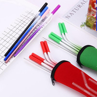 6 Colors Stainless Steel Gradient Color Straw Set With Anti-...