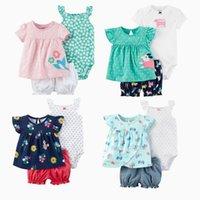 Infant Baby Girl Clothing Set Summer Soft Cotton Newborn Tops+Bodysuits +Shorts 3Pcs baby suits Ropa de bebe 210308